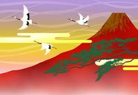 赤富士に鶴