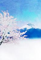 桜と富士山 : 水彩画風