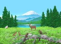 高原と富士山