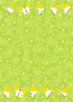 緑の花地と蝶々のフレーム