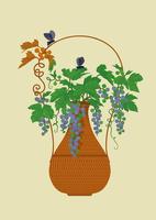 静物_藤製の花器とヤマブドウ