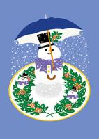 静物_雪だるまとクリスマスプレート 02412000030  写真素材・ストックフォト・画像・イラスト素材 アマナイメージズ