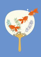 静物_団扇と金魚