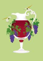 静物_デキャンタワインとブドウ