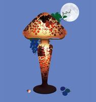 静物_月夜とガレのランプ