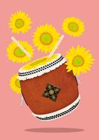 静物_踊る太鼓とヒマワリ 02412000092| 写真素材・ストックフォト・画像・イラスト素材|アマナイメージズ