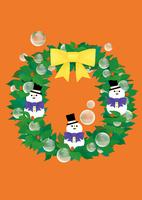 静物_雪だるまのクリスマスリース