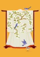 静物_花の着物と小鳥