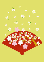 静物_扇の盆と桜の和菓子