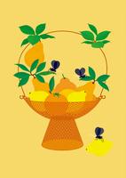 静物_フルーツバスケットと果物