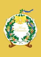 静物_クリスマスプレートと青い鳥