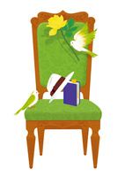 静物_読書の椅子 02412000162| 写真素材・ストックフォト・画像・イラスト素材|アマナイメージズ