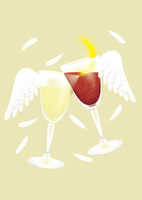 静物_ワイングラスと天使の羽 02412000165| 写真素材・ストックフォト・画像・イラスト素材|アマナイメージズ