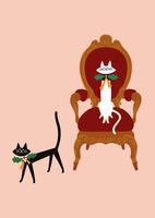 クリスマスの猫とアンティークチェア