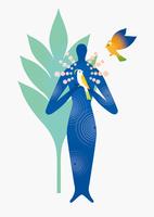 アブストラクトな人と鳥 02412000178| 写真素材・ストックフォト・画像・イラスト素材|アマナイメージズ