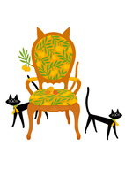 ネコ耳のチェアと猫