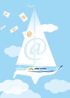アットマークと空飛ぶヨット 02412000186| 写真素材・ストックフォト・画像・イラスト素材|アマナイメージズ