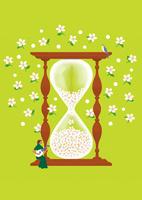 大きな花時計とマンドリンを弾く女性