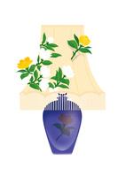 花のシェードランプ