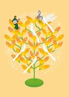 双葉の樹とマンドリンを弾く女性 02412000231| 写真素材・ストックフォト・画像・イラスト素材|アマナイメージズ