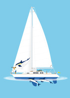 ヨットとイルカ 02412000239| 写真素材・ストックフォト・画像・イラスト素材|アマナイメージズ