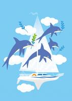 空飛ぶヨットとイルカ 02412000265| 写真素材・ストックフォト・画像・イラスト素材|アマナイメージズ