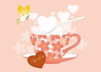 花模様のカップとホットチョコレート