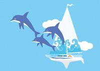 イルカとヨットと青い空 02412000317| 写真素材・ストックフォト・画像・イラスト素材|アマナイメージズ