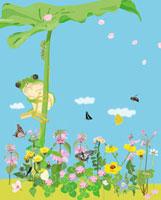 春の花と葉と昆虫と蛙