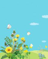 野原に咲くタンポポと土筆とモンシロチョウ