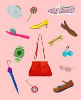 赤いバックと靴と小物 02413000032| 写真素材・ストックフォト・画像・イラスト素材|アマナイメージズ