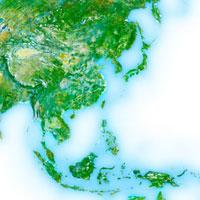 日本近郊のアジア地域の衛星画像