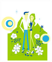 山とカップルのイメージ