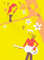 ギターを弾く男性と木の枝に座る女性