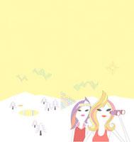 雪山にいる二人の女性のイメージ