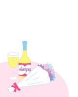 机の上に置かれたシャンパンと花束