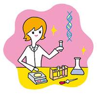 化学の実験をする女性