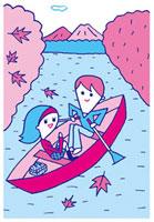 ボートを漕ぐカップル