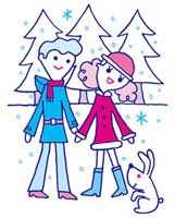 雪とうさぎとカップル