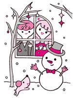 雪だるまとカップル