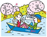 公園でボートを漕ぐカップル