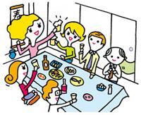 宴会で盛り上がる人々