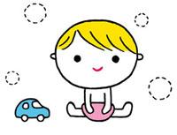 赤ちゃんと車のおもちゃ