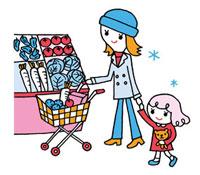 スーパーの食品売り場で買い物する親子