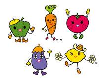 5種類の野菜キャラクター