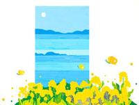 菜の花の群生と蝶と海と満月