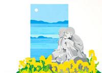 菜の花の群生と二体のお地蔵様と海