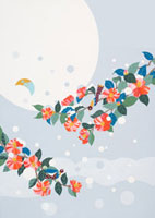 雪の降りかかった椿と満月と鳥