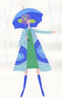 傘をさしているグリーンの服の女性 02422000039| 写真素材・ストックフォト・画像・イラスト素材|アマナイメージズ