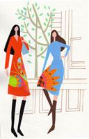 花柄のワンピースを着た2人の女性 02422000042| 写真素材・ストックフォト・画像・イラスト素材|アマナイメージズ